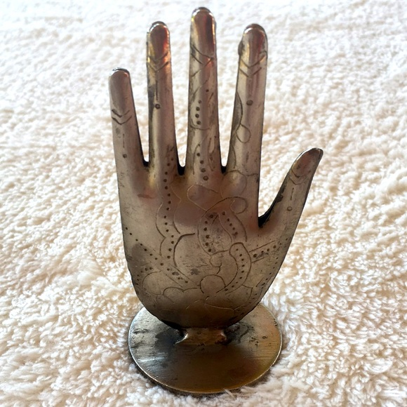ETCHED SILVER METAL HAND FROM INDIA